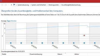 Windows 8 Zuverlässigkeits Anzeige 0