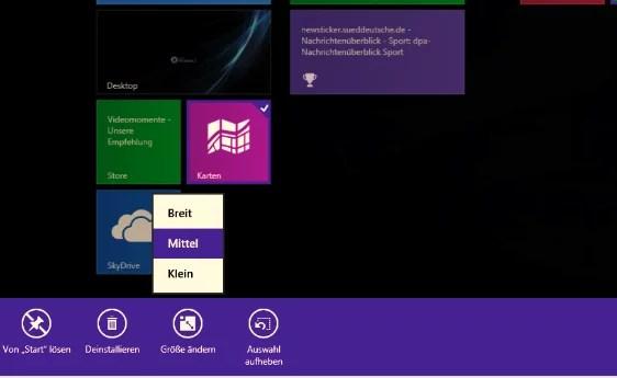 Windows 8.1 Größe der Kacheln ändern 0