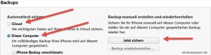 Backup in iTunes- icloud-dieser-computer