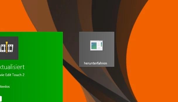 Kachel erstellen für schnelleres Herunterfahren bei Windows 8.1 0