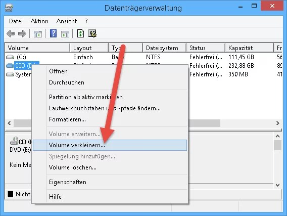 Partition volume verkleinen