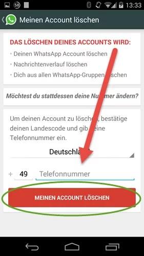 WhatsApp Account- Android meinen account loeschen nr eingeben