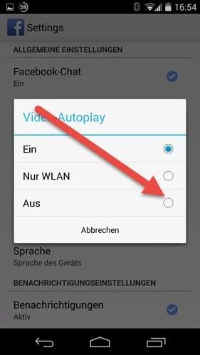 facebook video Autoplay aus