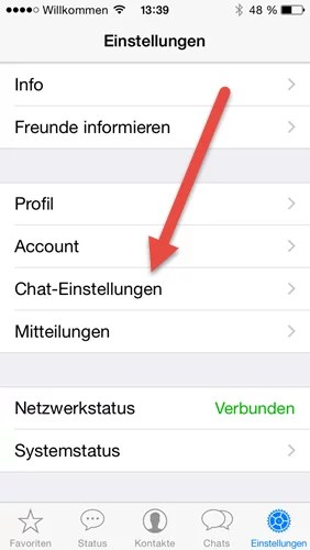 whatsapp-chat einstellungen