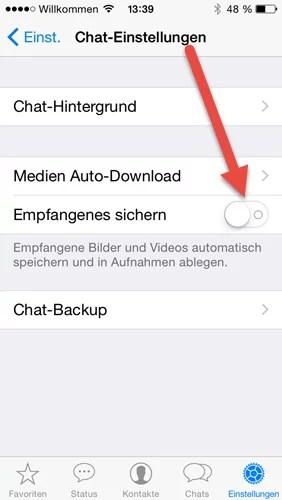 whatsapp-chat empfangenes sichern