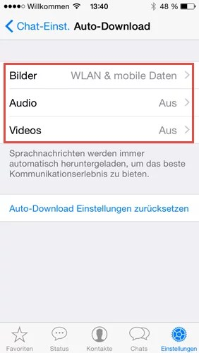 whatsapp-chat medien Auto-download wlan mobile daten