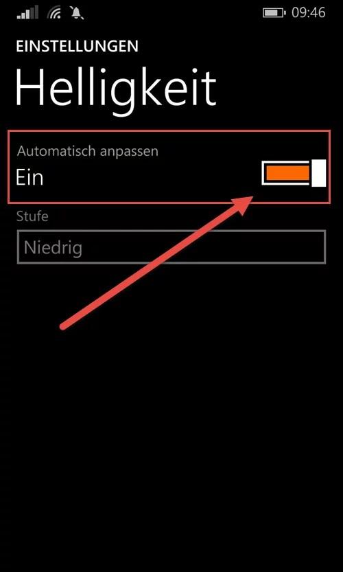 windows phone helligkeit automatisch anpassen