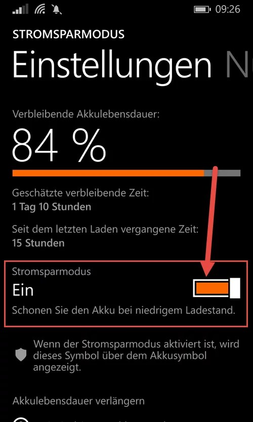 windows phone Stromsparmodus aktivieren