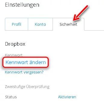 Dropbox kennwort passwort aendern