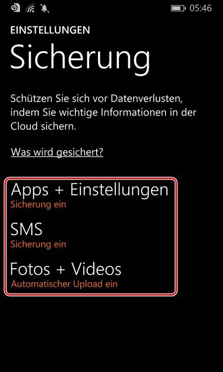 windows phone sicherung