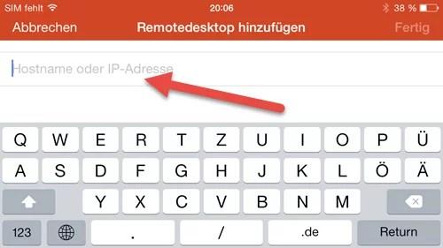 Microsoft Remote Desktop App- iPhone hostname ip