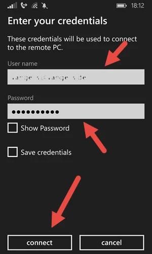 Microsoft Remote Desktop App- Windows Phone connect