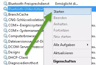 Bluetooth-Dienst starten