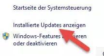 Installierte Updates anzeigen