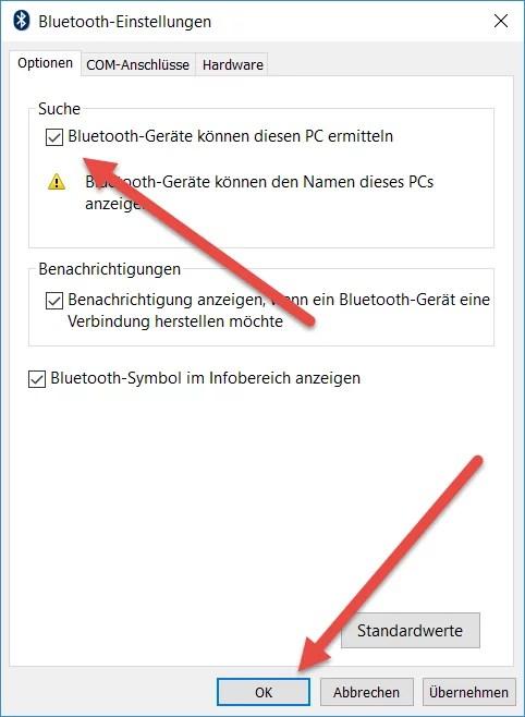 BT koennen diesen PC ermitteln