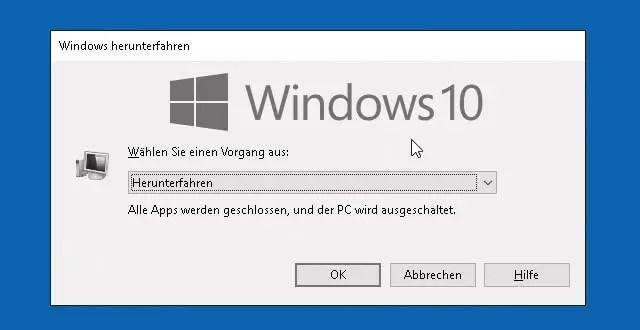 Windows 10 Herunterfahren – alle Möglichkeiten 0