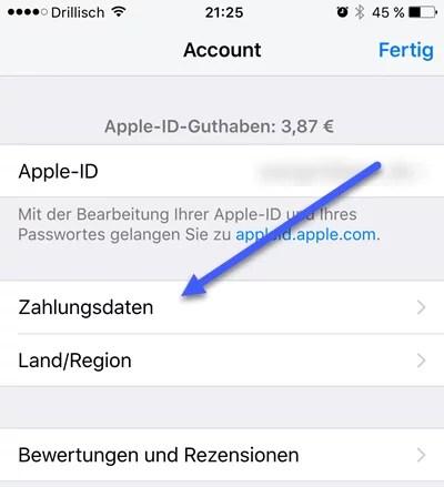 Zahlungsmethoden App Store