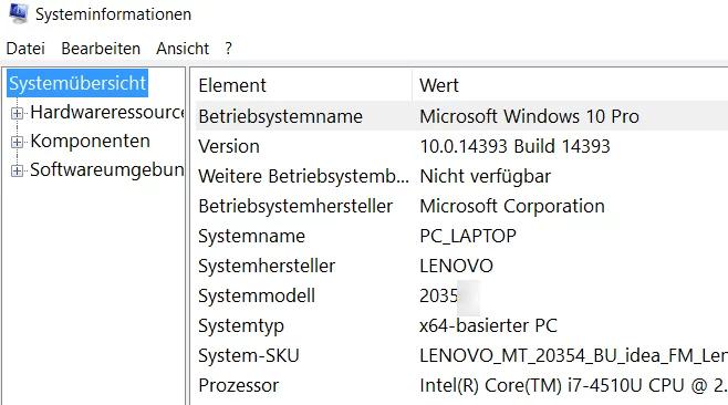 msinfo32-system-informationen