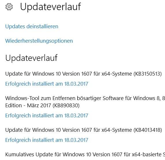update-verlauf