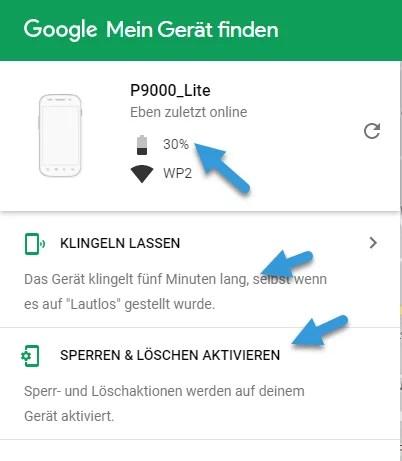 Android finden sperren loeschen