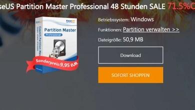 Photo of EaseUS Partition Master Professional 12.5 für 48 Stunden nur 11,84 €