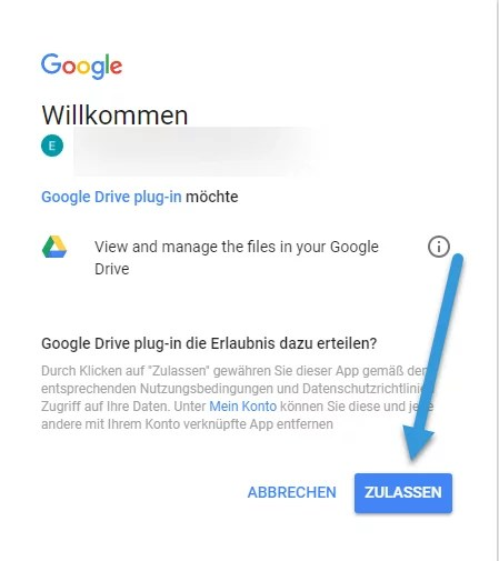Google Drive Authentifizierungsseite