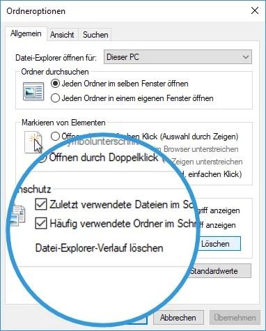 Zuletzt verwendet Datei in Windows Explorer loeschen