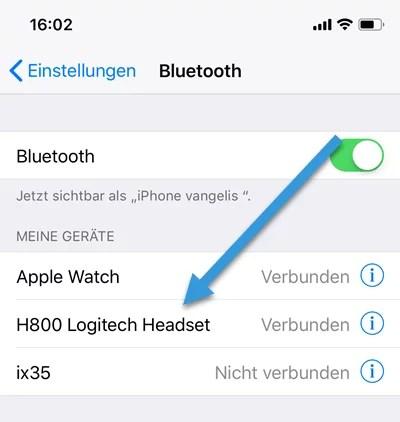 Logitech H800 Headset mit iphone verninden