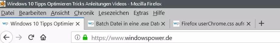 Firefox Den Tabtext nicht ausblenden 2