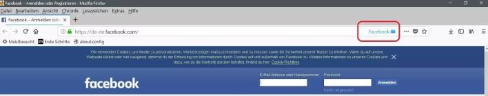 facebook container urlbar