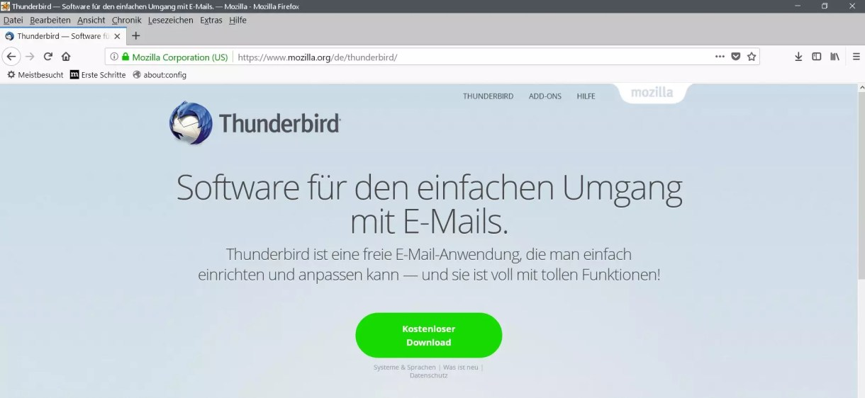thunderbird keine rückmeldung windows 10