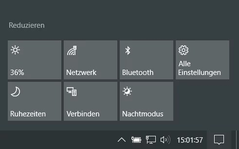 Windows 10 Info-Center manuell schließen und nicht automatisch 0