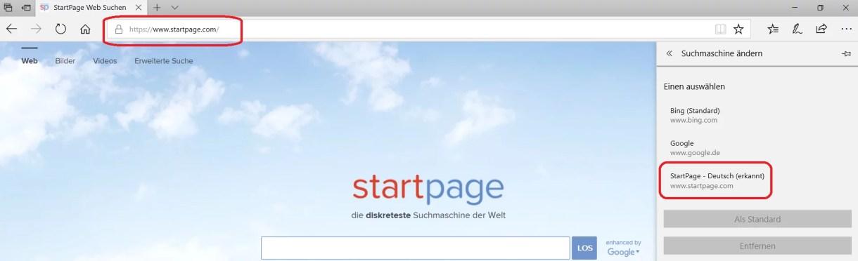 Microsoft Edge Standard Suchmaschine Bing ändern 4