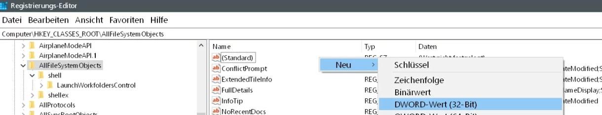 Windows 10 Standardaktion kopieren, verschieben ändern 6