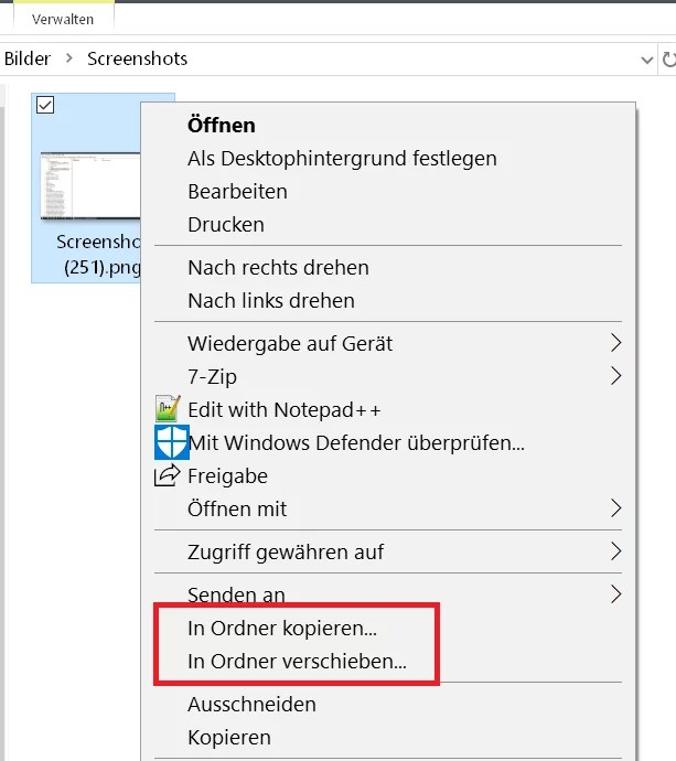 Windows 10 Ordner kopieren/verschieben im Kontextmenü 9