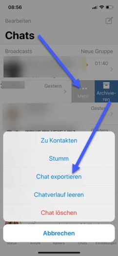 WhatsApp Chat per E-Mail