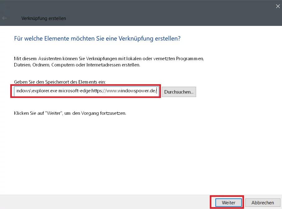 Edge Browser eine Desktopverknüpfung erstellen 5