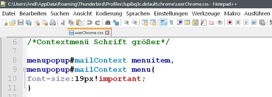 Rechtsklick Contextmenü den Text vergrößern im Thunderbird 7