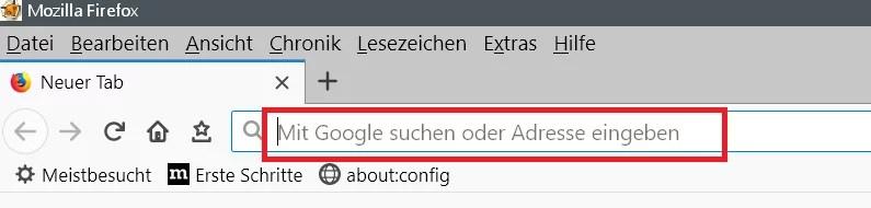 Adress- und Suchleiste den Text entfernen im Firefox 0