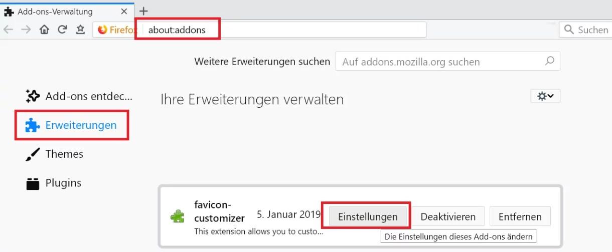 Webseitensymbol im Tab ändern im Firefox 8