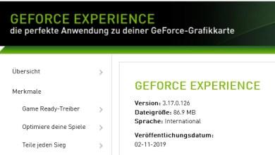 Photo of Nvidia GeForce Experience 3.17.0.126 – neue Version erschienen