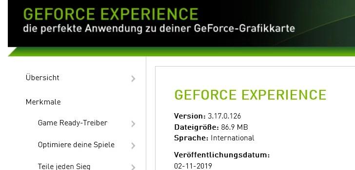 Nvidia GeForce Experience 3.17.0.126 – neue Version erschienen 0