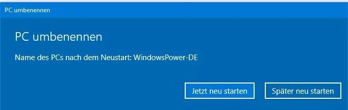 Windows 10 PC umbenennen 0