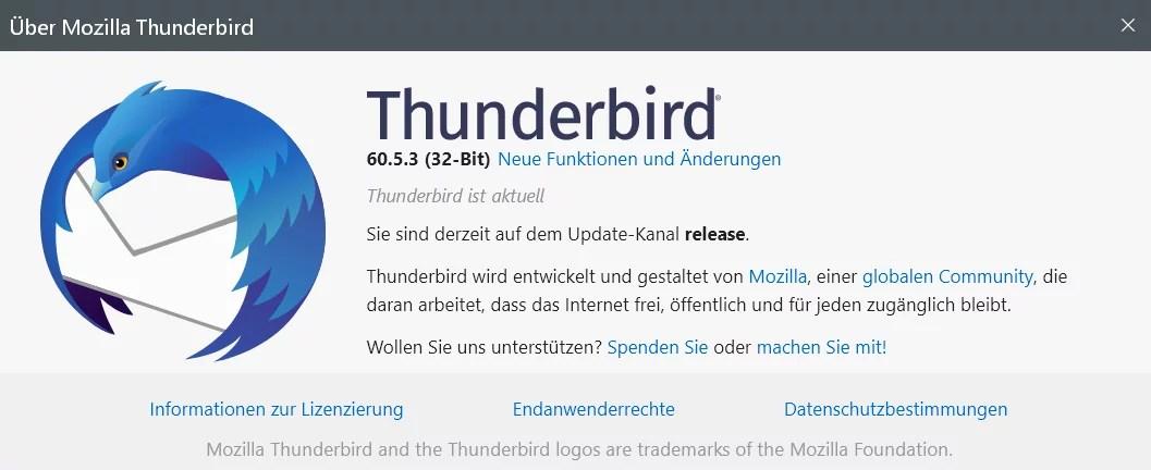 Thunderbird Version 60.5.3 ist erschienen 0