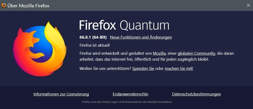Firefox Version 66.0.1 ist erschienen und steht zum Download bereit 0