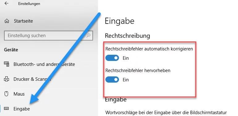 Windows 10 Rechtschreibprüfung Deaktivieren