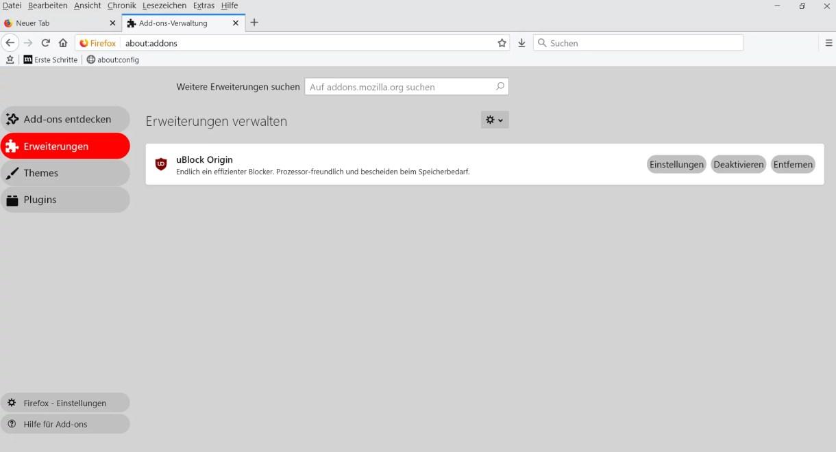 Firefox 66 – about:addons Seite anpassen 3