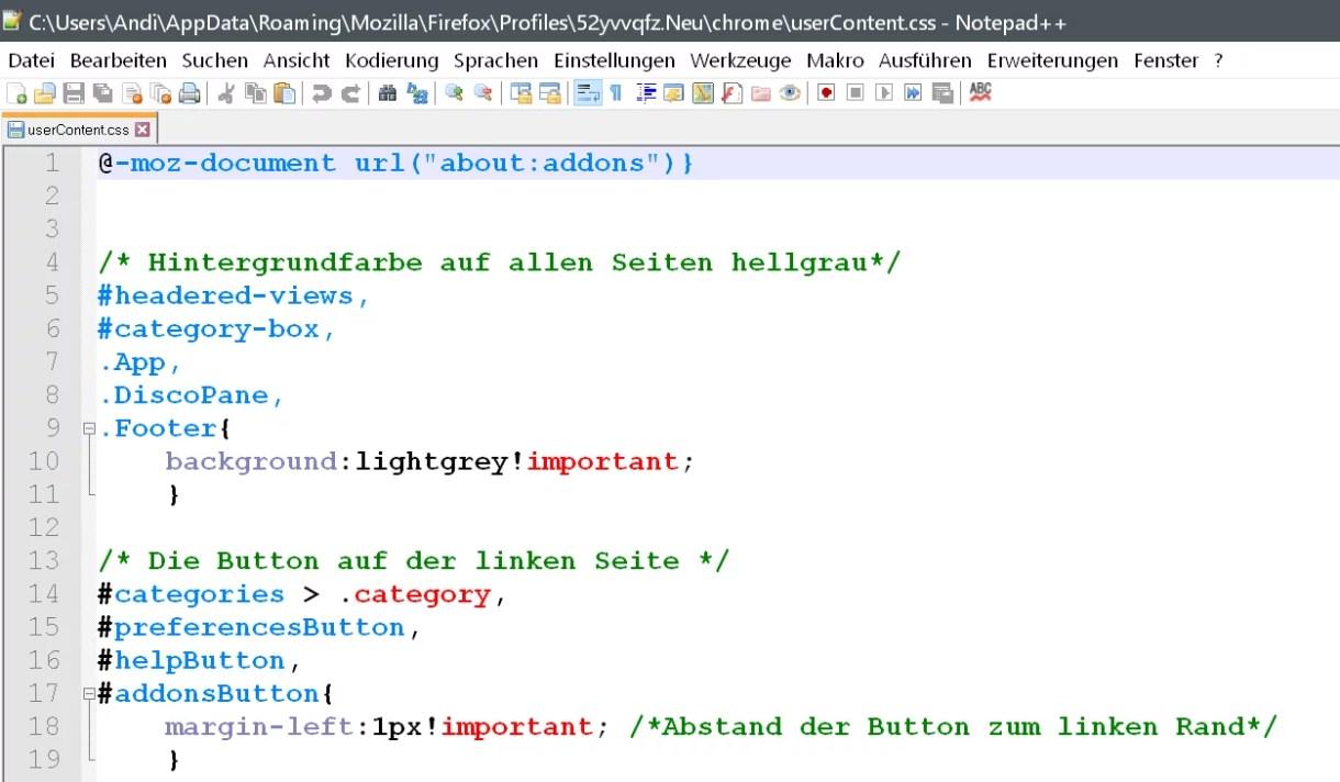 Firefox 66 – about:addons Seite anpassen 1