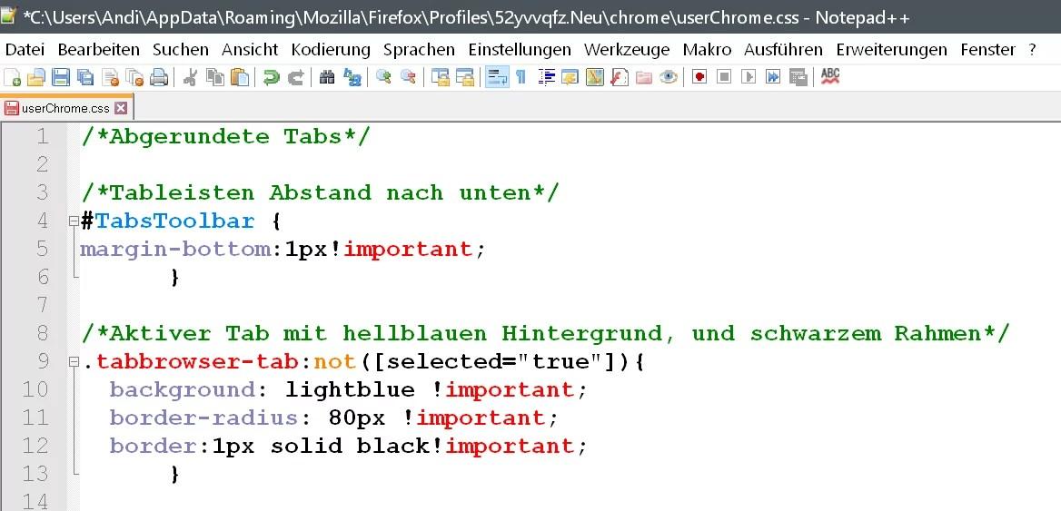 Firefox 67 – Abgerundete Tabs per CSS – Code 1