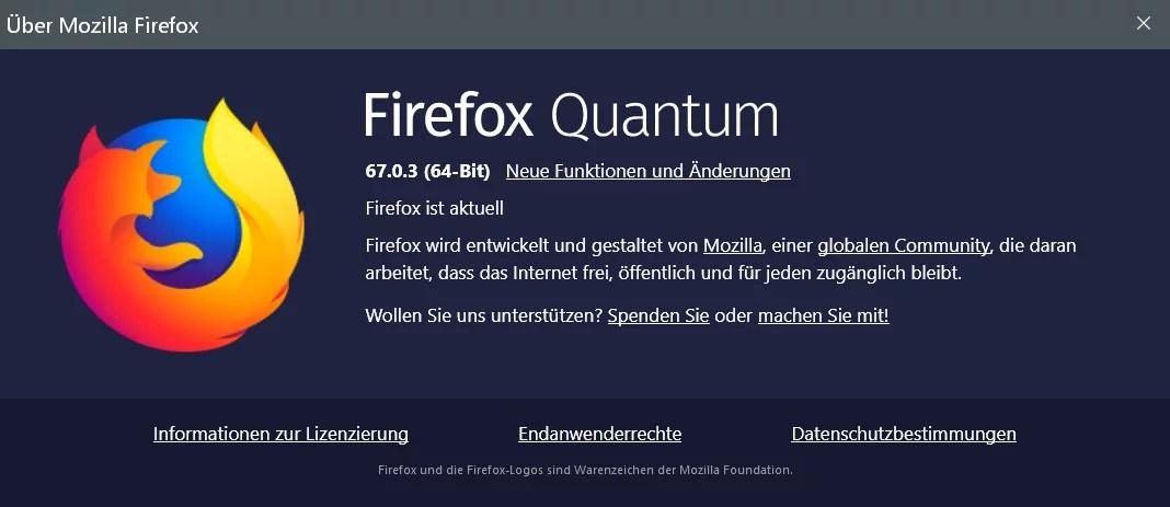 Firefox Version 67.0.3 ist erschienen und steht zum Download bereit 0